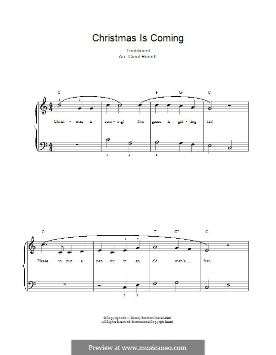 Christmas Is Coming: For voice and piano by folklore