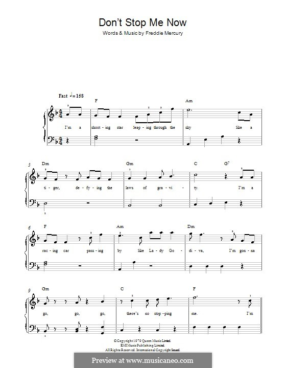 Don't Stop Me Now (Queen) by Freddie Mercury - sheet music ...