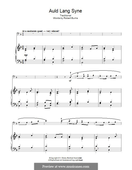 Auld Lang Syne: For cello and piano by folklore
