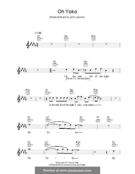 Oh Yoko ( John Lennon ) ‒ Guitar- and Ukulele chords ...