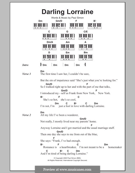 Darling Lorraine: Lyrics and piano chords by Paul Simon