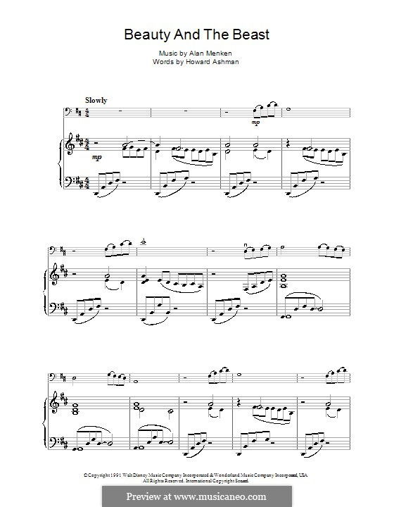 Beauty and the Beast (Celine Dion and Peabo Bryson): For cello by Alan Menken