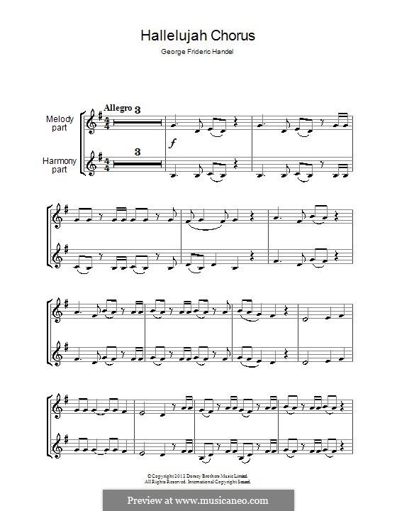 No.44 Hallelujah: For two clarinets by Georg Friedrich Händel