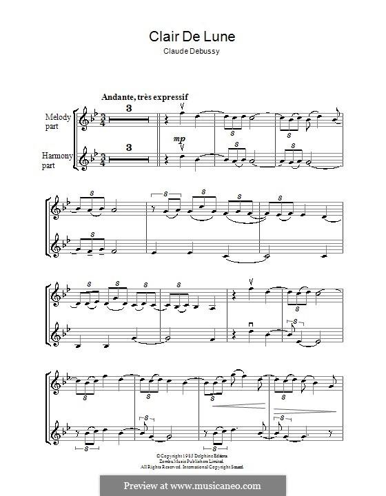 No.3 Clair de lune: For violin by Claude Debussy