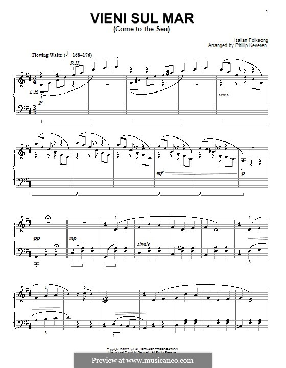 Vieni sul mar: For piano by folklore