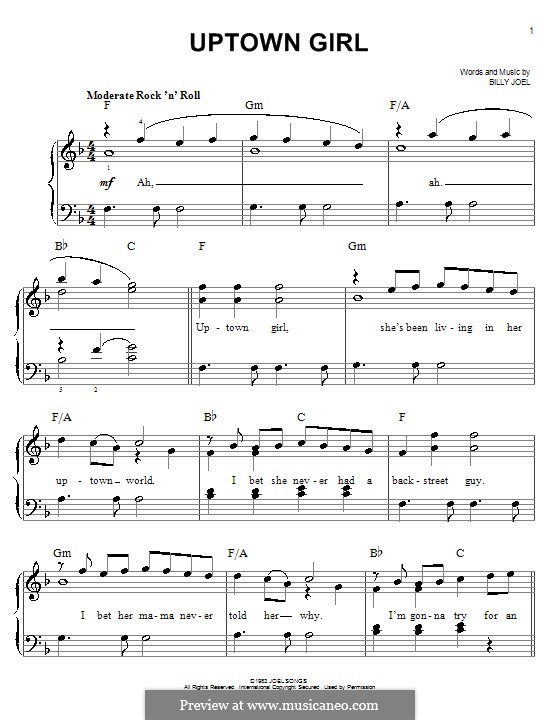 Uptown Girl: For piano by Billy Joel