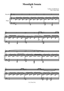 Movement I: For recorder and piano by Ludwig van Beethoven