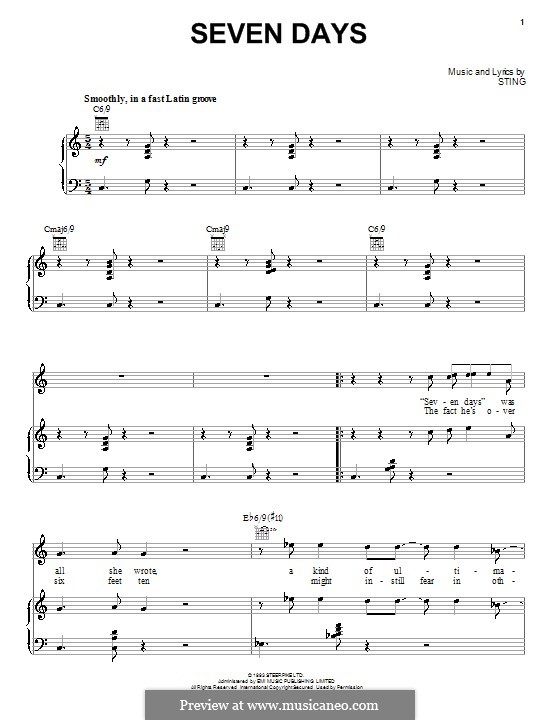 seven days by sting sheet music on musicaneo. Black Bedroom Furniture Sets. Home Design Ideas
