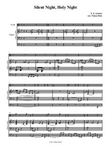 Silent Night (Downloadable): For viola and organ by Franz Xaver Gruber