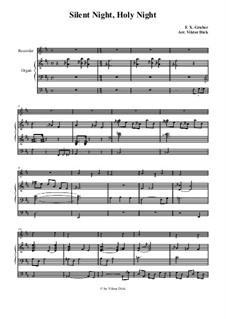 Silent Night (Downloadable): For recorder and organ by Franz Xaver Gruber