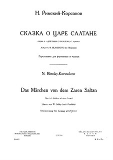 The Tale of Tsar Saltan. Opera: Piano-vocal score by Nikolai Rimsky-Korsakov