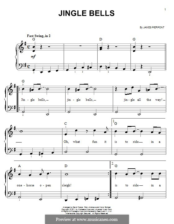 Piano piano chords jingle bells : Jingle Bells, for Piano by J.L. Pierpont - sheet music on MusicaNeo