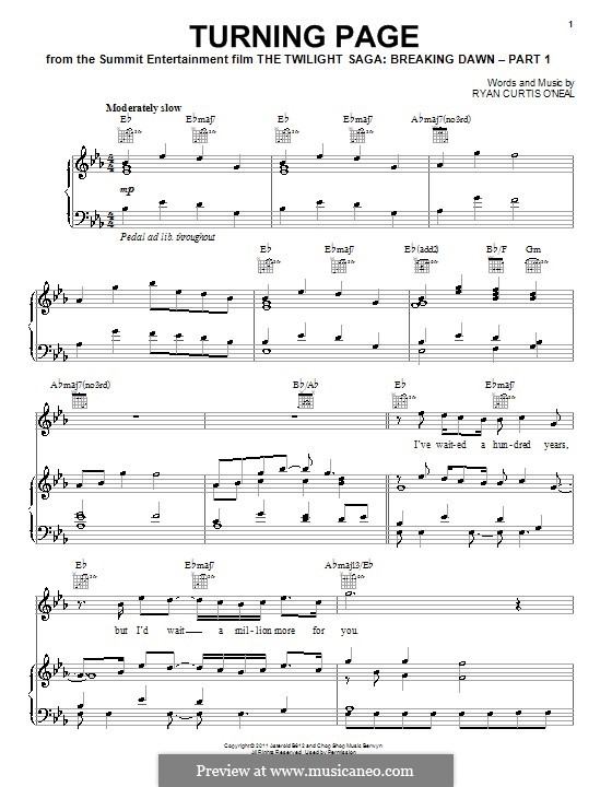 Turning Page (Sleeping at Last): For voice and piano (or guitar) by Ryan Curtis O'Neal