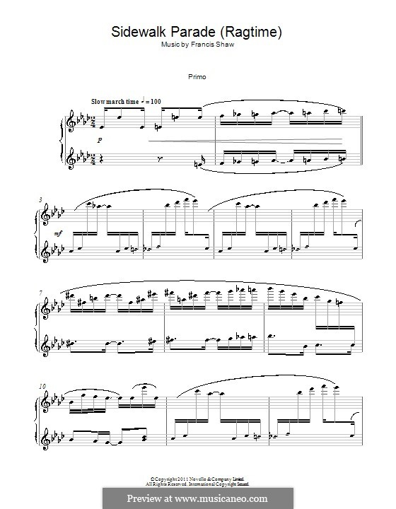 Sidewalk Parade (Ragtime): For piano four hands by Francis Shaw