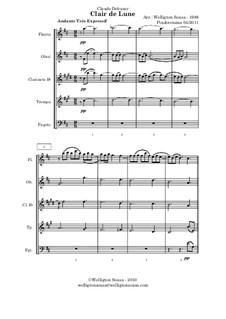 No.3 Clair de lune: For wind ensemble (or quintet) by Claude Debussy