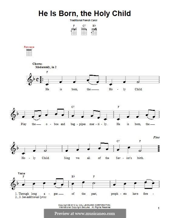 He Is Born, the Holy Child (Il est ne, le divin enfant): For ukulele by folklore