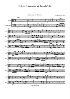15 Canons for Viola and Cello: 15 Canons for Viola and Cello by Jordan Grigg