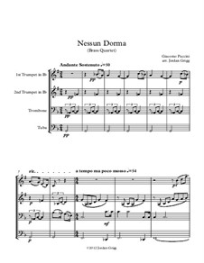 Turandot: Nessun dorma, for brass quartet by Giacomo Puccini