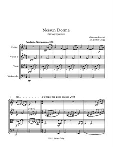 Turandot: Nessun dorma, for string quartet by Giacomo Puccini