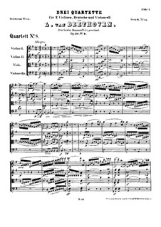 String Quartet No.8 in E Minor 'Rasumowsky-Quartet', Op.59 No.2: Full score by Ludwig van Beethoven