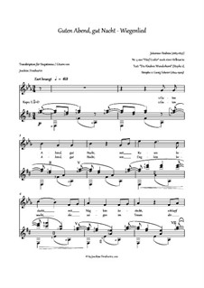 No.4 Cradle Song: For voice and guitar by Johannes Brahms