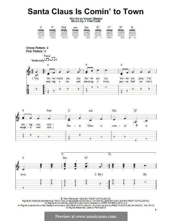 Ukulele : ukulele chords santa claus coming town Ukulele Chords ...