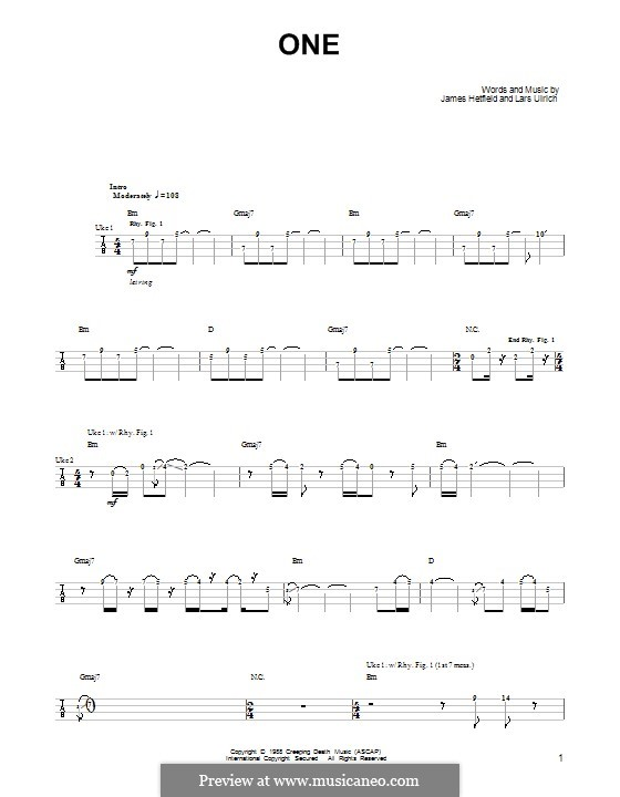 Guitar u00bb Guitar Tabs Metallica One - Music Sheets, Tablature, Chords and Lyrics