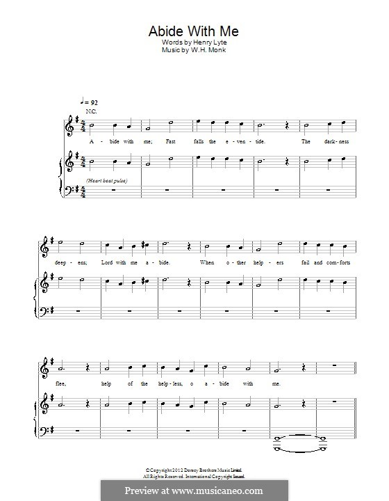 Abide with Me: For voice and piano (or guitar) by William Henry Monk