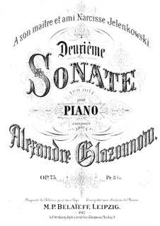 Sonata for Piano No.2 in E Minor, Op.75: For a single performer by Alexander Glazunov