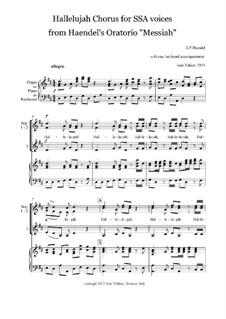 No.44 Hallelujah: For SSA and keyboard by Georg Friedrich Händel