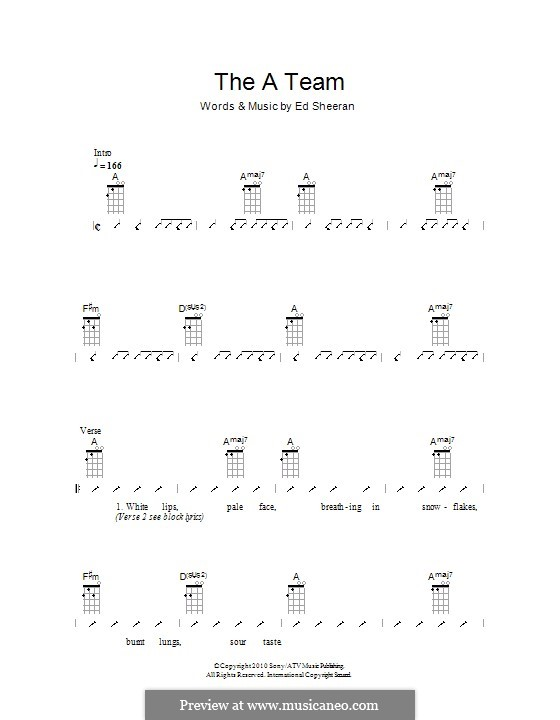 Ukulele u00bb Ukulele Tabs Ed Sheeran A Team - Music Sheets, Tablature, Chords and Lyrics
