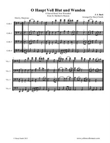 O Haupt voll blut und wunden: For intermediate cello quartet (four cellos) by Johann Sebastian Bach
