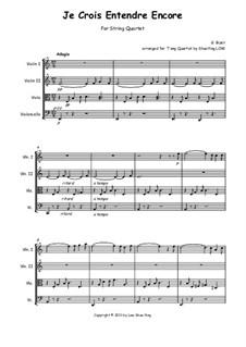 Je crois entendre encore: For string quartet by Georges Bizet