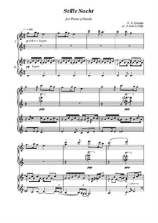 Silent Night (Downloadable): For piano four hands by Franz Xaver Gruber