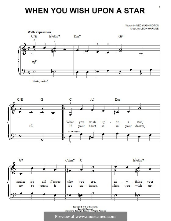 when you wish upon a star easy piano pdf
