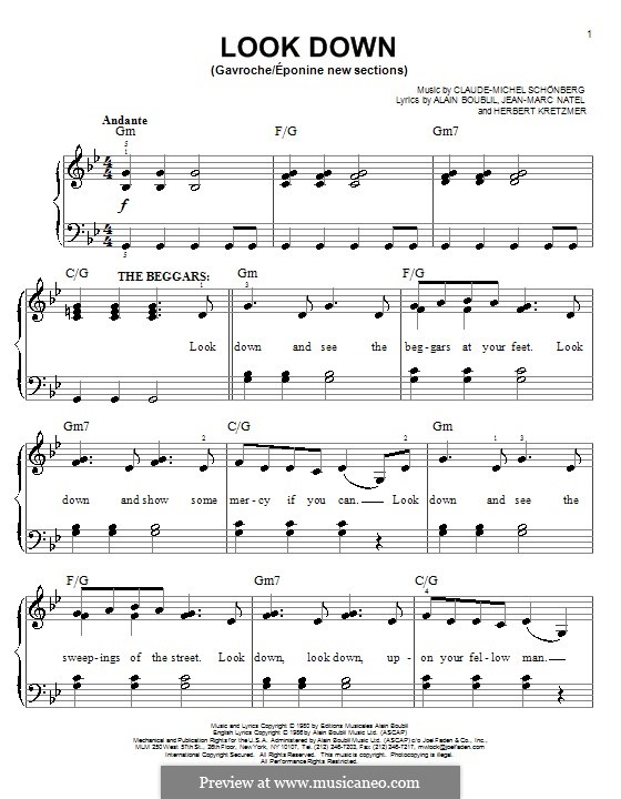 Look Down (Les Miserables) by C. Schönberg - sheet music on MusicaNeo