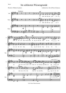 Five German Folk Songs for Two Voices and Guitar: Im schönsten Wiesengrunde, for voices and piano by folklore
