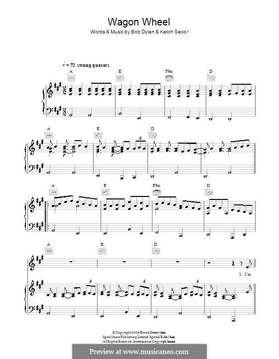 Violin wagon wheel violin tabs : Wagon Wheel (Old Crow Medicine Show) by B. Dylan, K. Secor on ...
