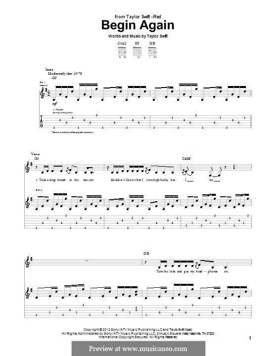Begin Again: Guitar tablature by Taylor Swift