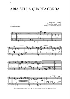 Aria: Version for organ by Johann Sebastian Bach