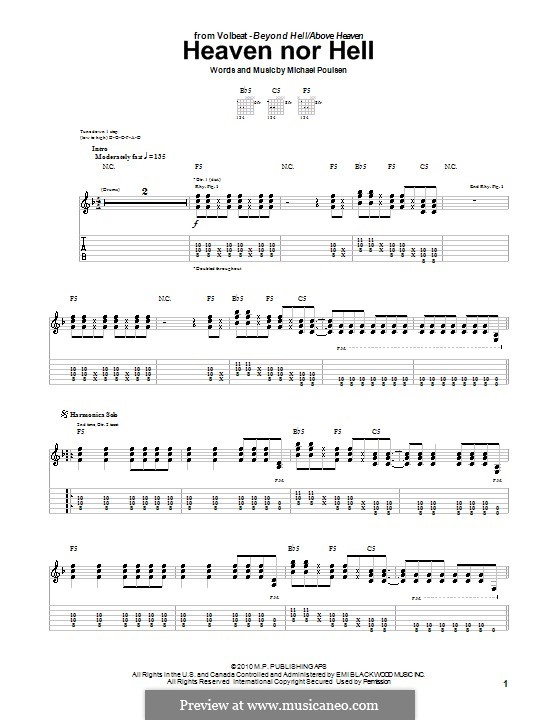 Heaven Nor Hell (Volbeat): For guitar with tab by Michael Poulsen