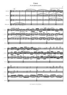 Canon in D Major: For saxophone quartet by Johann Pachelbel