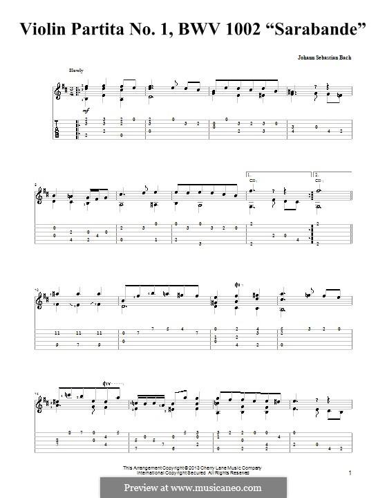 Partita for Violin No.1 in B Minor, BWV 1002: Sarabande. Version for guitar with tab by Johann Sebastian Bach