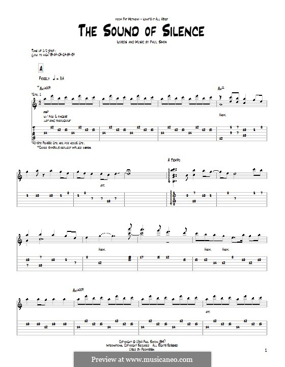 The Sound of Silence (Simon & Garfunkel): For guitar with tab by Paul Simon