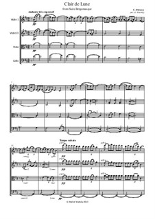 No.3 Clair de lune: For string quartet by Claude Debussy