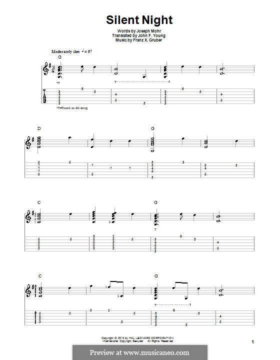 Silent Night (Printable) by F.X. Gruber - sheet music on MusicaNeo