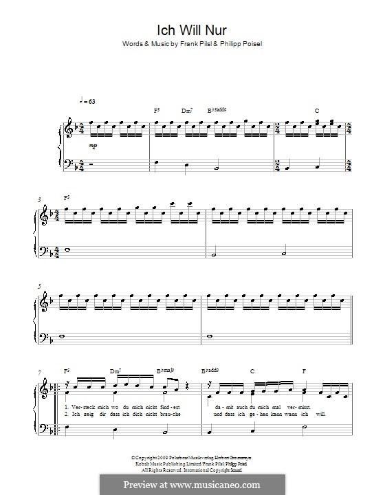 ich will nur by f pilsl p poisel sheet music on musicaneo. Black Bedroom Furniture Sets. Home Design Ideas