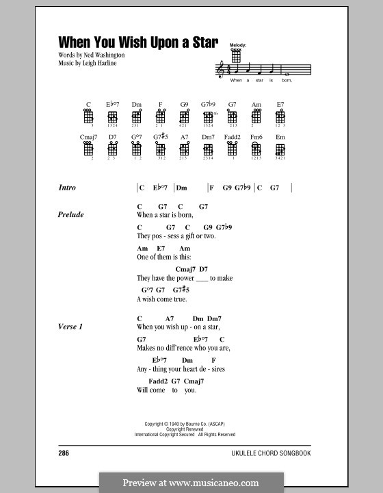 Ukulele ukulele tabs disney : When You Wish Upon a Star (from Disney's Pinocchio) by L. Harline ...