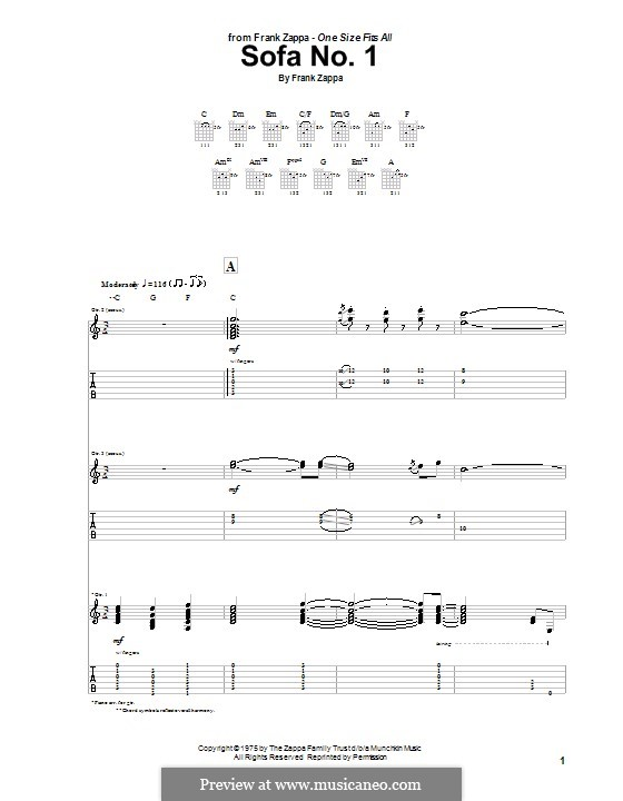Sofa No1 By F Zappa Sheet Music On MusicaNeo