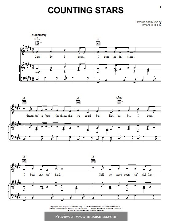 Counting Stars (One Republic) by R.B. Tedder - sheet music on ...